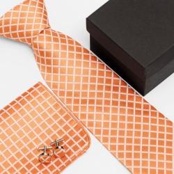 Dárková sada oranžová kravata, kapesníček a manžetové knoflíčky SNT0016