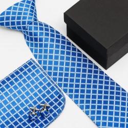 Dárková sada modrá kravata, kapesníček a manžetové knoflíčky