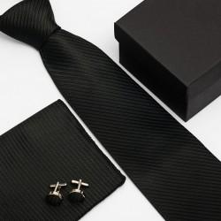 Dárková sada černá kravata, kapesníček a manžetové knoflíčky SNT0031