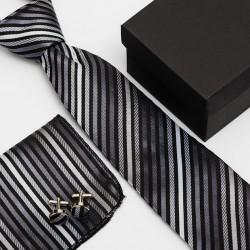Dárková sada černá kravata, kapesníček a manžetové knoflíčky SNT0033
