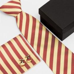 Dárková sada pruhovaná kravata, kapesníček a manžetové knoflíčky SNT0063