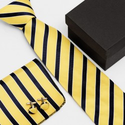 Dárková sada pruhovaná kravata, kapesníček a manžetové knoflíčky SNT0064