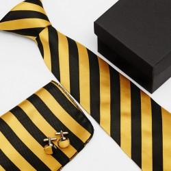Dárková sada žlutá kravata, kapesníček a manžetové knoflíčky SNT0086