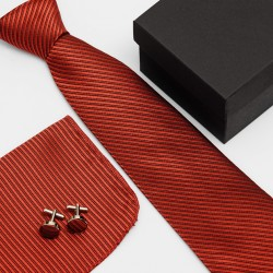 Dárková sada červená kravata, kapesníček a manžetové knoflíčky SNT0093
