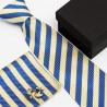 Dárková sada modrá kravata, kapesníček a manžetové knoflíčky SNT0105