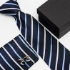 Dárková sada modrá kravata, kapesníček a manžetové knoflíčky SNT0138