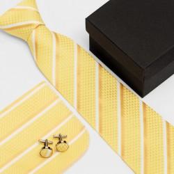 Dárková sada žlutá kravata, kapesníček a manžetové knoflíčky SNT0165