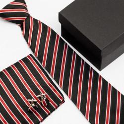 Dárková sada černá kravata, kapesníček a manžetové knoflíčky SNT0205