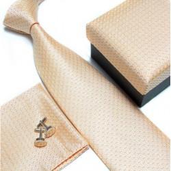 Dárkový set žlutá kravata, kapesníček a manžetové knoflíčky