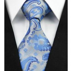 Hedvábná kravata stříbrná kašmírová NT0296