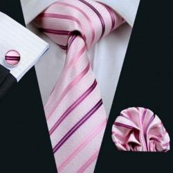 Darčeková sada ružová kravata, vreckovka a manžetové gombíky