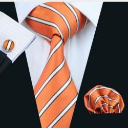 Dárkové balení oranžová kravata, kapesníček a manžetové knoflíčky