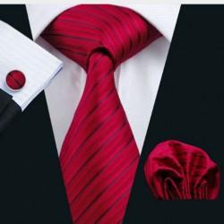 Dárkové balení červená kravata, kapesníček a manžetové knoflíčky