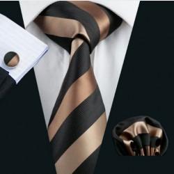 Darčeková sada hnedá kravata, vreckovka a manžetové gombíky
