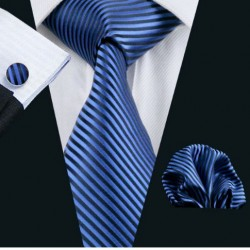 Dárkové sada modrá kravata, kapesníček a manžetové knoflíčky