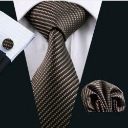 Dárkové sada hnědá kravata, kapesníček a manžetové knoflíčky