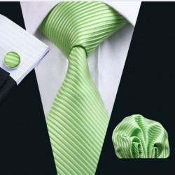 Dárkové balení zelená kravata, kapesníček a manžetové knoflíčky