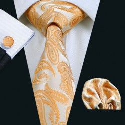 Darčeková sada oranžová kravata, vreckovka a manžetové gombíky
