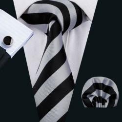 Dárkové balení šedá kravata, kapesníček a manžetové knoflíčky
