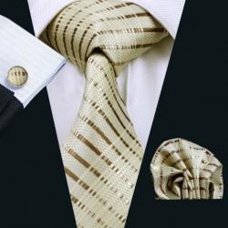 Dárková sada hnědá kravata, kapesníček a manžetové knoflíčky
