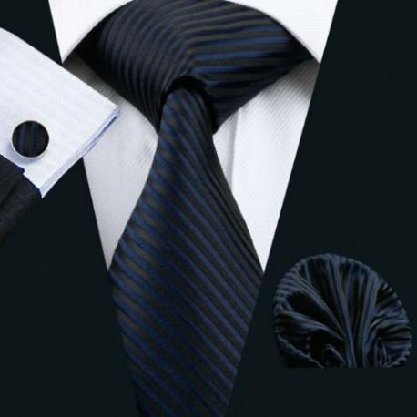7ca187cbc Darčeková sada čierná kravata, vreckovka a manžetové gombíky - Wemay
