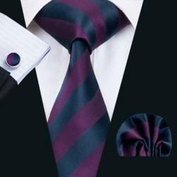 Dárkové balení fialová kravata, kapesníček a manžetové knoflíčky