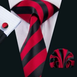 Darčeková sada červená kravata, vreckovka a manžetové gombíky