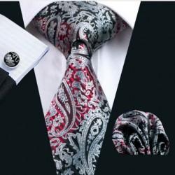 Dárková sada černá kravata, kapesníček a manžetové knoflíčky