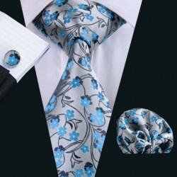 Dárkoá sada šedá kravata, kapesníček a manžetové knoflíčky