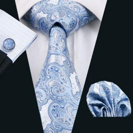 Dárková sada šedá kravata, kapesníček a manžetové knoflíčky