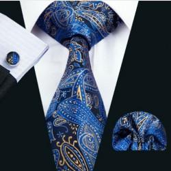 Darčeková sada modrá kravata, vreckovka a manžetové gombíky
