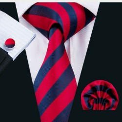Dárková sada červená kravata, kapesníček a manžetové knoflíčky