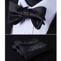 Černý Vázací hedvábný motýlek s kapesníčkem