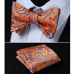 Oranžový Vázací hedvábný motýlek s kapesníčkem