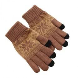 Zimní rukavice s norským vzorem hnědé