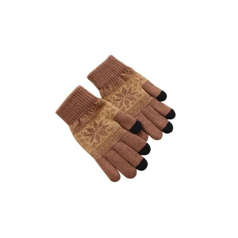 35195c50dc7 Zimní rukavice s norským vzorem hnědé - Wemay