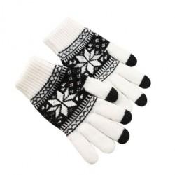 Zimní rukavice s norským vzorem bílé