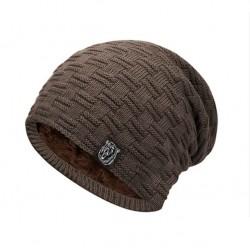 Pánská zimní pletená čepice hnědá