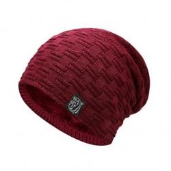 Pánská zimní pletená čepice červená