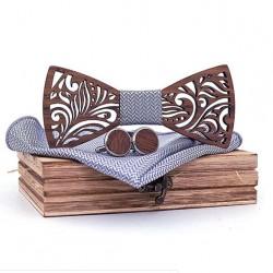 Dřevěný motýlek s kapesníčkem a manžetovmi knoflíčky