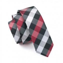 Pánská hedvábná Slim kravata kostkovaná