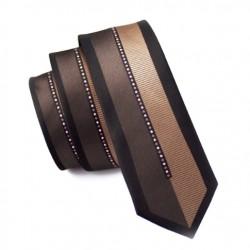 Pánská hedvábná Slim kravata hnědá