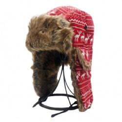 Beranice zimní čepice ušanka červená