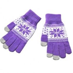 Zimní rukavice s norským vzorem fialové