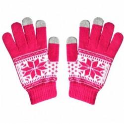 Zimní rukavice s norským vzorem růžové