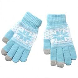 Zimní rukavice s norským vzorem tyrkysové