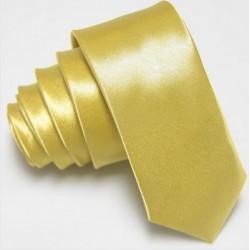 Úzká SLIM kravata světlá zlatá