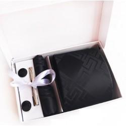 Dárková sada černá kravata, kapesníček, manžetové knoflíčky a kravatová spona