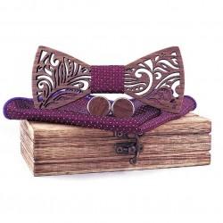 Dřevěný motýlek s kapesníčkem a manžetovými knoflíčky
