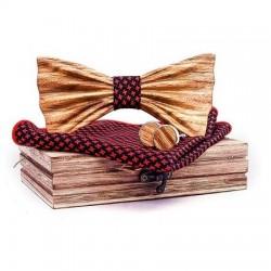 Dřevěný vroubkovaný motýlek s kapesníčkem a manžetovými knoflíčky